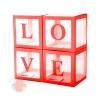 Набор коробок для воздушных шаров Love, Красные грани, Прозрачный, 30*30*30 см, в упаковке 4 шт.