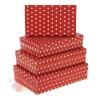 Набор коробок из 3х Горох тонировка красная