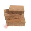 Набор коробок из 3х Горох цв красный  на коричневом