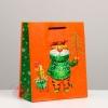 "Пакет подарочный ""Тигр с ёлкой"", 18 х 22,3 х 10 см"