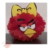 Помпоны из бумаги Красная птица-девочка 25 см