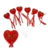 Сердце на палочке бархатное (набор 6 шт) Love, цвет красный