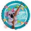Шар (18''/46 см) Круг, С Днем Рождения! (милая коала), 1 шт.