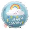 Шар 18/46 см Круг, С Днем Рождения! (облако и радуга), Бирюзовый, 1 шт.