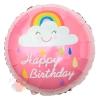Шар (18''/46 см) Круг, С Днем Рождения! (облако и радуга), Розовый, 1 шт.