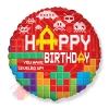 Шар (18''/46 см) Круг, С Днем Рождения (пиксели), Красный, 1 шт.
