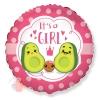 Шар (18''/46 см) Круг, С Рождением Девочки (семья авокадо), Розовый, 1 шт.