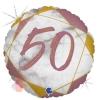Шар (18''/46 см) Круг, Цифра 50, Мрамор Калакатта, Розовое Золото, Голография, 1 шт.