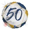 Шар (18''/46 см) Круг, Цифра 50, Мрамор Калакатта, Синий, Голография, 1 шт.