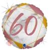 Шар (18''/46 см) Круг, Цифра 60, Мрамор Калакатта, Розовое Золото, Голография, 1 шт.