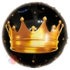 Шар (18''/46 см) Круг, Золотая корона, Черный, 1 шт.