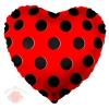 Шар 18/46 см Сердце, Черные точки, Красный, 1 шт.