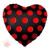 Шар 18/46 см Сердце, Красные точки, Черный, 1 шт.