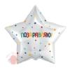 Шар 18/46 см Звезда, Поздравляю! (разноцветное конфетти и звездочки), Белый