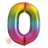 Шар (34''/86 см) Цифра, 0, Яркая радуга, Градиент, 1 шт. в упак.