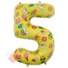 Шар (34''/86 см) Цифра, 5, Веселые картинки, Желтый, в упаковке 1 шт.