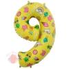 Шар (34''/86 см) Цифра, 9, Веселые картинки, Желтый, в упаковке 1 шт.