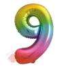 Шар (34''/86 см) Цифра, 9, Яркая радуга, Градиент, в упаковке 1 шт.