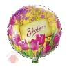 Шар фольгированный Круг 18 РУС 8 МАРТА Тюльпаны и мимозы