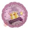 Шар фольгированный Круг, С Днем рождения (корона принцессы), Розовый