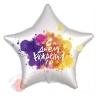 Шар фольгированный Звезда, С Днем Рождения (краски), Белый жемчужный, Сатин