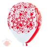 S 12 Кокетливые сердечки (Белый, Красный) Пастель (100 шт.)