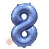 Шар Цифра, 8, Синий, Сатин, в упаковке 1 шт