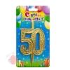 Свеча тортовая цифра Золото юбилейная 50