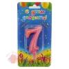 Свеча Цифра, 7 Овал, Розовый, с блестками, 7 см, 1 шт.
