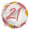 """Цифра """"21"""" Мрамор Розовое золото"""