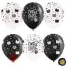 Воздушный шар (12''/30 см) Хэппи Мяу, Котики, Черный (299)/Белый (200), пастель, 5 ст, 50 шт.