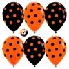 Воздушный шар (12''/30 см) Точки, Оранжевый (061)/Черный (080), пастель, 5 ст, 50 шт.