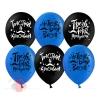 Воздушный шар (12''/30 см) Толстый и красивый (усы), Черный/Синий, пастель, 2 ст, 50 шт.
