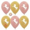 Воздушный Шар Единорог, Розовое золото Золото яркое металлик (12 шт.)