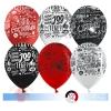 Воздушный Шар С Днюхой! Emoji, Черный/Белый/Красный, пастель, 5 ст, 50 шт.