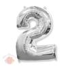 Воздушный шар Цифра 2 серебро Two 102 см