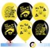 Воздушный шар Вечеринка Emoji, Черный / Желтый, пастель, 2 ст, 50 шт